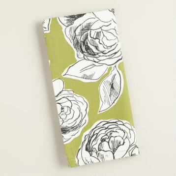 Green, Black and White Floral Rosie Napkins, Set of 4